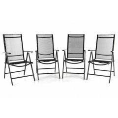 Sada štyroch záhradných polohovateľných stoličiek - čierna