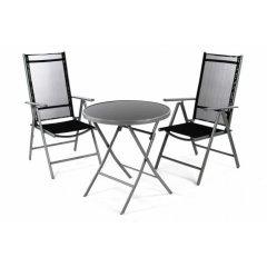 Záhradný balkónový set stoličky a stôl - čierne
