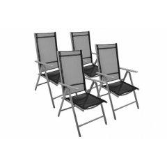 Sada 4 hliníkových skladacích stoličiek Garth - čierna