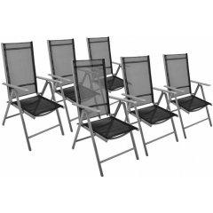 Záhradná sada - 6 sklápajúcich stoličiek GARTHEN - čierna