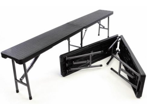 Sada 2 skladacích záhradných lavíc v ratanovom designe - 180 x 25 cm