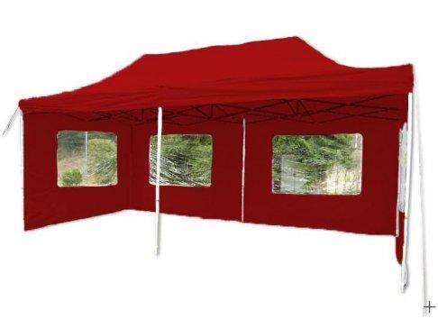 Záhradný párty stan nožnicový červený, 3 x 6 m