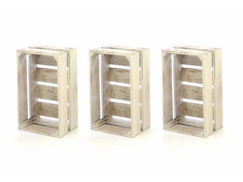 Sada drevených debničiek VINTAGE DIVERO - 3 ks biela