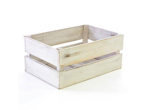 DIVERO Vintage bedna, bílá 42 cm x 23 cm