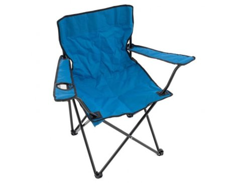 Skládací kempingová židle s držákem nápojů - modrá