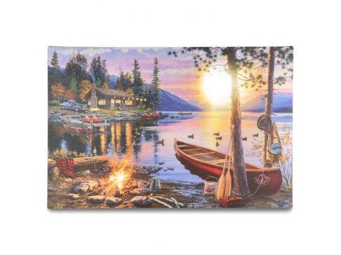 Nástěnná malba Západ slunce - 8 LED, 40 x 60 cm