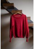 Jednobarevný ručně pletený svetr z alpaky a hedvábí