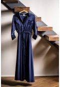 Modré košilové šaty z hedvábné směsi