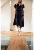 Modré košilové šaty z hedvábné směsi - krátké