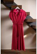 Růžové košilové šaty z hedvábné směsi - krátké
