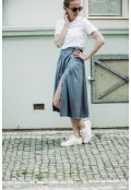 Šedo-modrá zavinovací sukně z hedvábné směsi