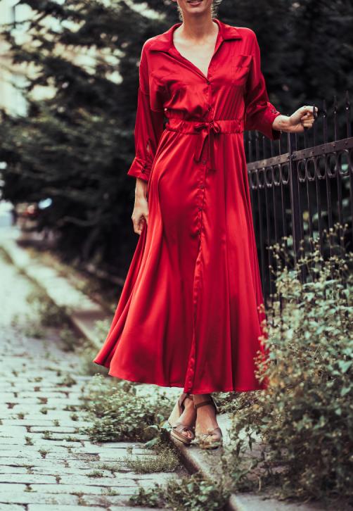 Červené košilové šaty z hedvábné směsi