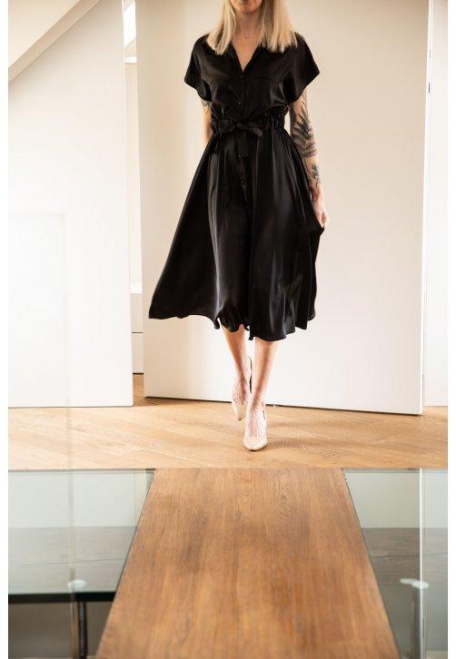 Černé košilové šaty z hedvábné směsi - krátké