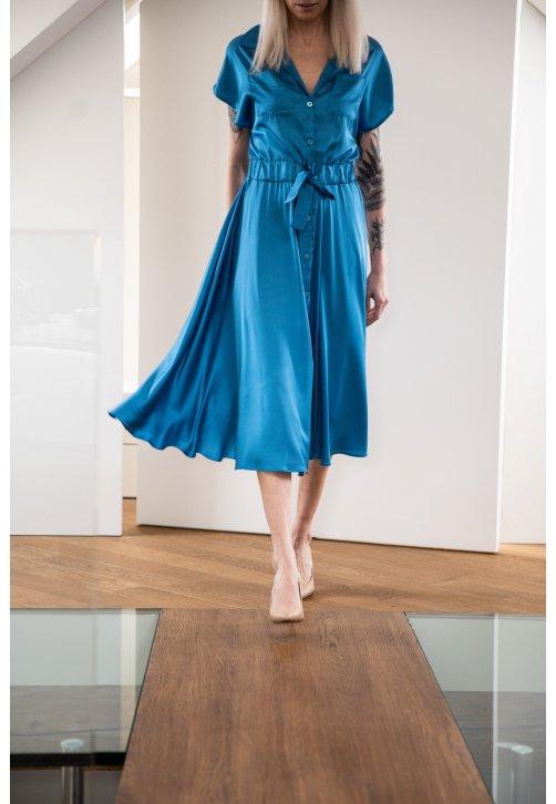 Tyrkysové košilové šaty z hedvábné směsi - krátké