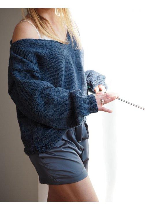 Ručně pletený svetr z lnu a bavlny s hlubokým výstřihem