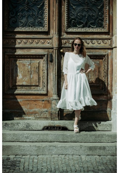 Volné šaty z dvojího hedvábí v barvě ivory