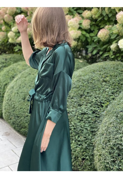 Zelené košilové šaty z hedvábné směsi