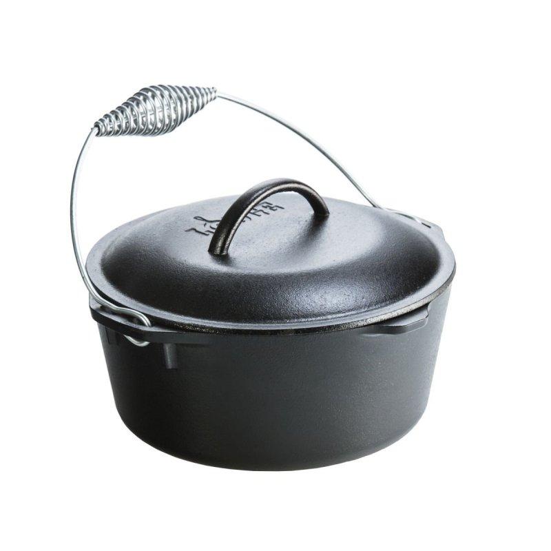 "Litinový hrnec Lodge ""Dutch Oven"" 4,7 l s litinovou poklicí a kovovým držadlem"
