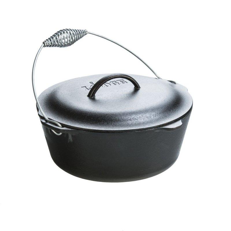 "Litinový hrnec Lodge ""Dutch Oven"" 6,6 l s litinovou poklicí a kovovým držadlem"