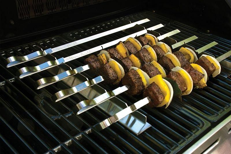 Nerezová sada na kebab se 6 plochými špízy