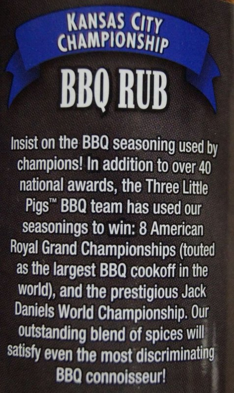 Three Little Pigs BBQ KC Championship Rub 184g