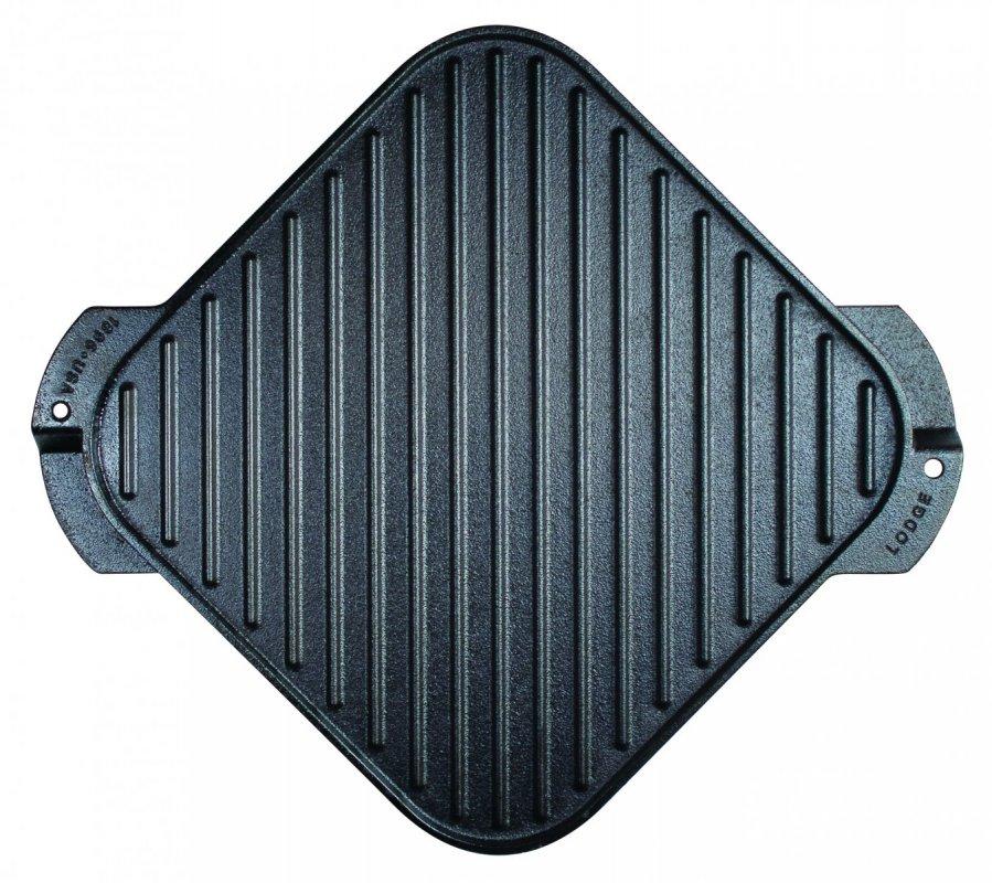 Oboustranný čtvercový litinový tál/gridl Lodge 27 x 27 cm