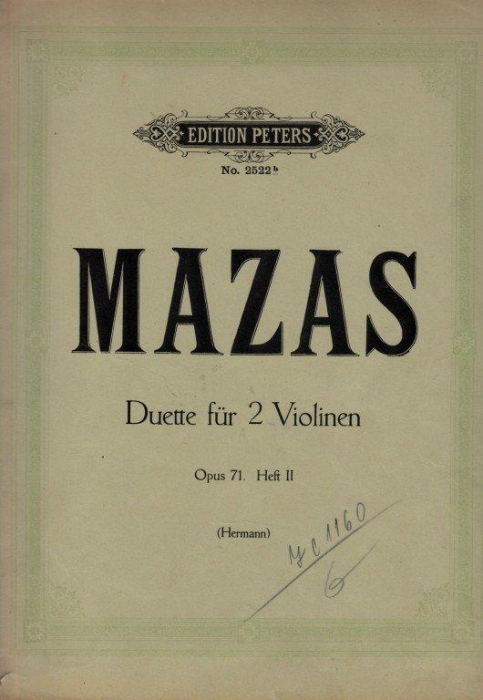 Mazas F.: Six Duos ( 2 Violons) op 71, Heft II.
