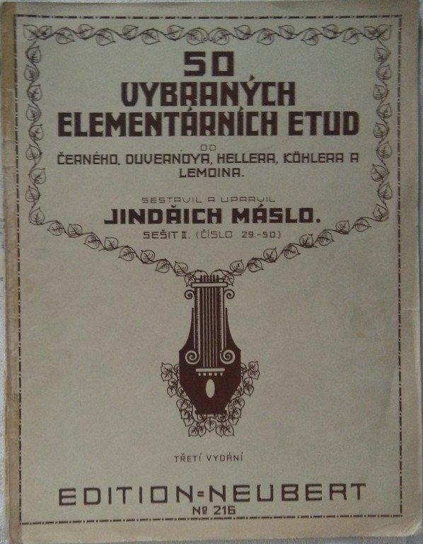 Máslo Jindřich: 50 vybraných elementárních etud sešit II.(29 - 50)