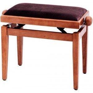 FX Lavička pro piano Tis červený – vysoký lesk hnědé sedadlo