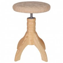 HNS Klavírní židle přírodní satén sedák textil 4 nohy