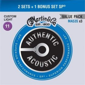 MARTIN Authentic SP 92/8 Phosphor Bronze Custom Light - Limited 3 Packs
