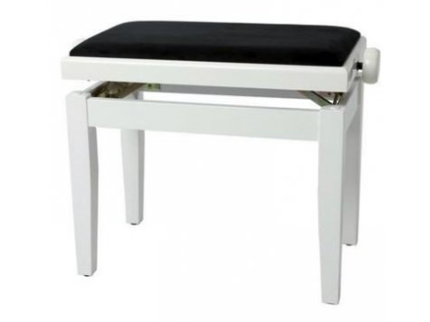 FX Lavička pro piano Bílý vysoký lesk černé sedadlo