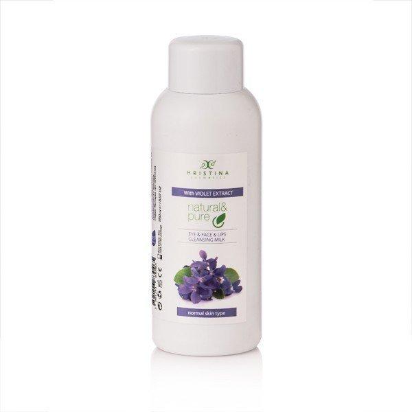 Prírodné čistiace pleťové mlieko na oči, tvár a pery - fialka 150 ml