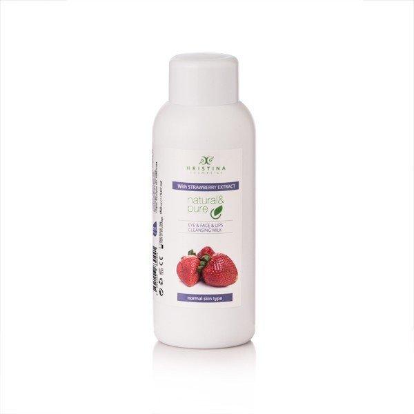 Prírodné čistiace pleťové mlieko na oči, tvár a pery - jahoda 150 ml