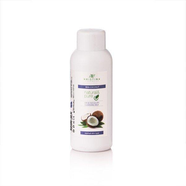 Přírodní čistící pleťové mléko na oči, tvář a rty - kokos 150 ml
