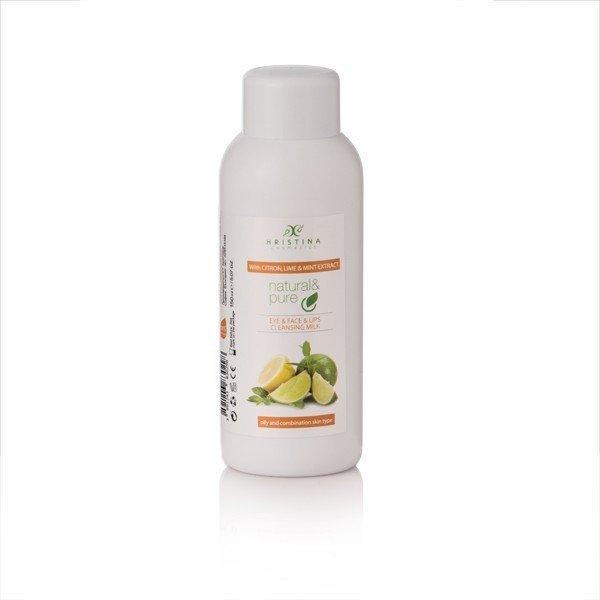 Naturalne mleczko oczyszczające do oczu, twarzy i ust - cytryna, limetka, mięta 150 ml