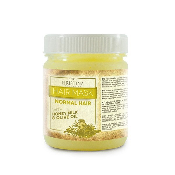 Prírodná vlasová maska pre normálne vlasy s medom, mliekom a olivovým olejom 200 ml