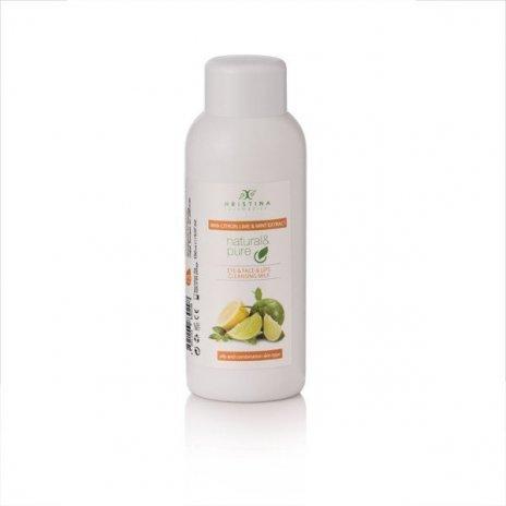 Natürliche Hautreinigungsmilch für Augen, Gesicht und Lippen – Zitrone, Limette, Pfefferminze 150 ml