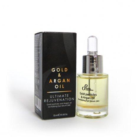Naturalne rewitalizujące serum olejowe pod oczy cząsteczki złota i olej arganowy 24h 15 ml