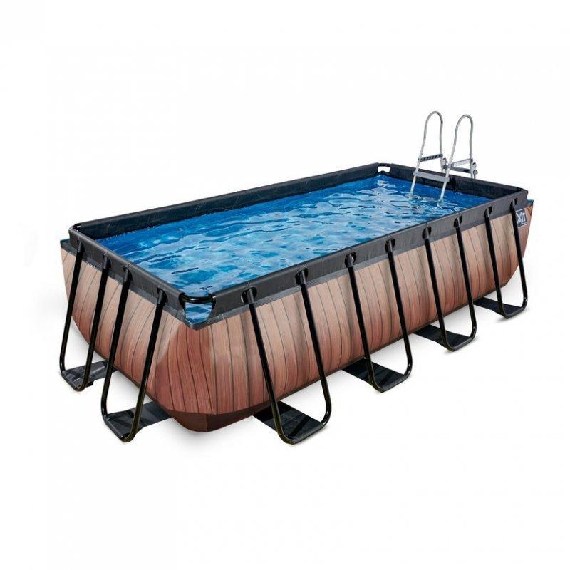 Bazén Exit 400 x 200 x 100 cm s filtrací a krytem - barva hnědá, dřevo