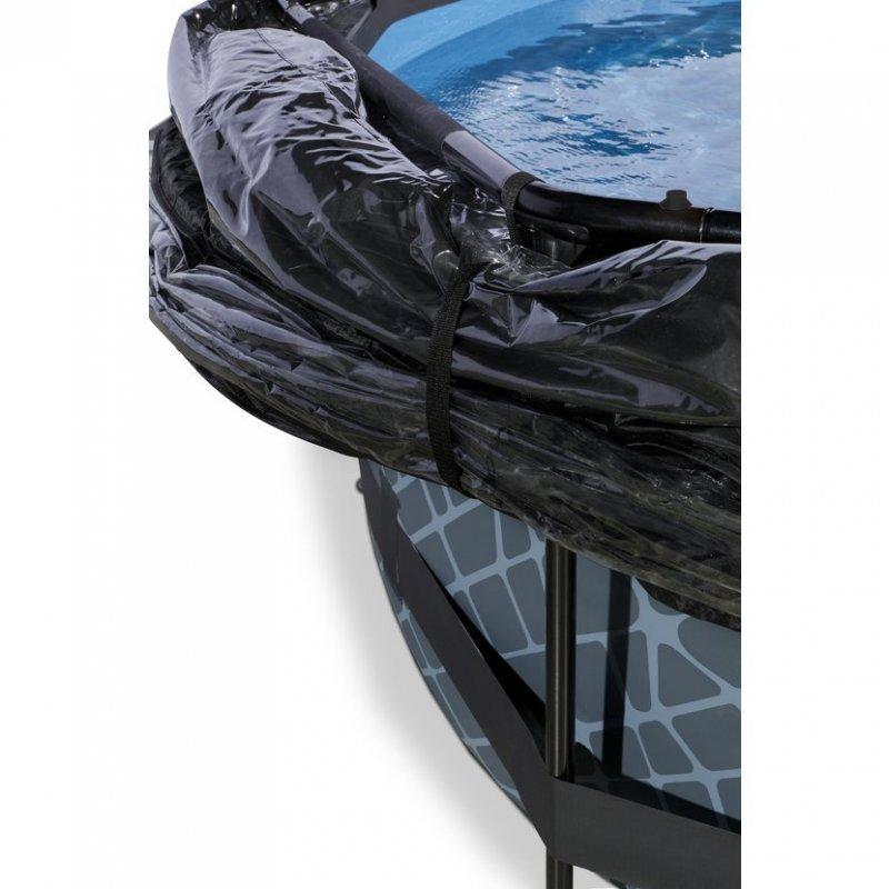 Bazén Exit ø 360 x 76 cm s filtrací a krytem - barva šedá, kámen