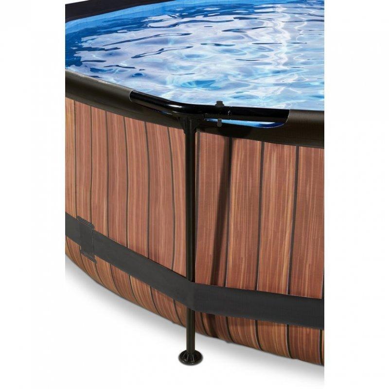Bazén Exit ø 360 x 76 cm s filtrací a krytem - barva hnědá, dřevo