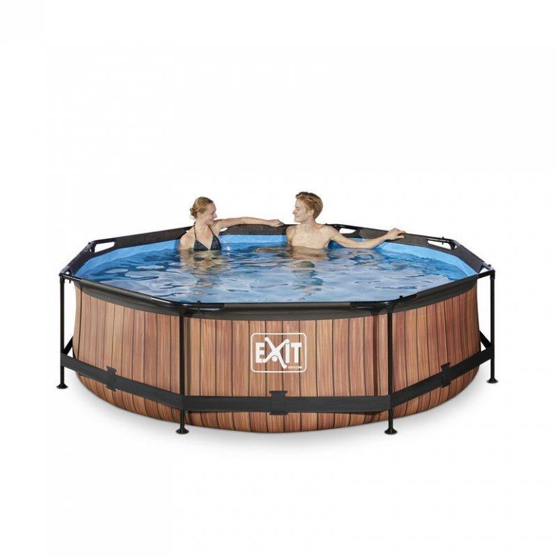 Bazén Exit ø 300 x 76 cm s filtrací - barva hnědá, dřevo