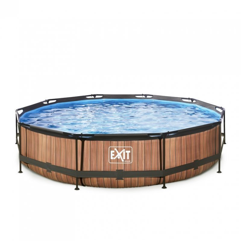 Bazén Exit ø 360 x 76 cm s filtrací - barva hnědá, dřevo