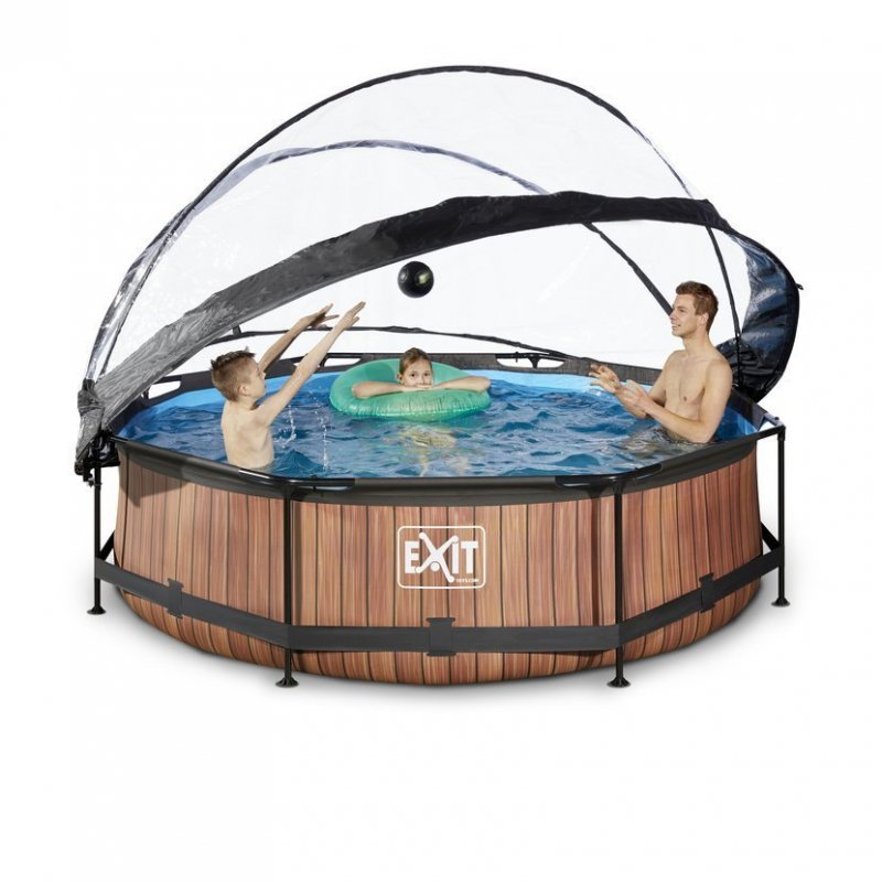 Bazén Exit ø300 x 76 cm s filtrací a krytem - barva hnědá, dřevo