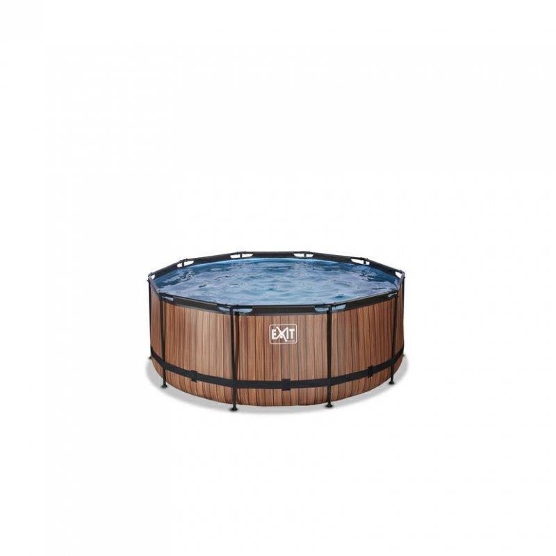 Bazén Exit ø360 x 122 cm s pískovou filtrací - barva hnědá, dřevo