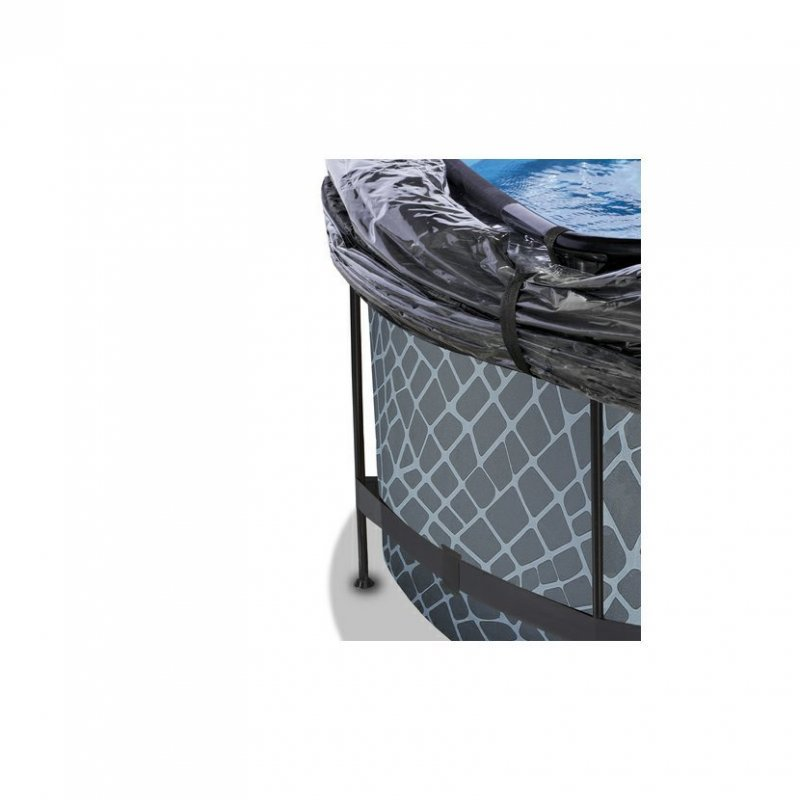 Bazén Exit ø360 x 122 cm s pískovou filtrací, krytem a tepelným čerpadlem 2,5kW, barva šedá - kámen