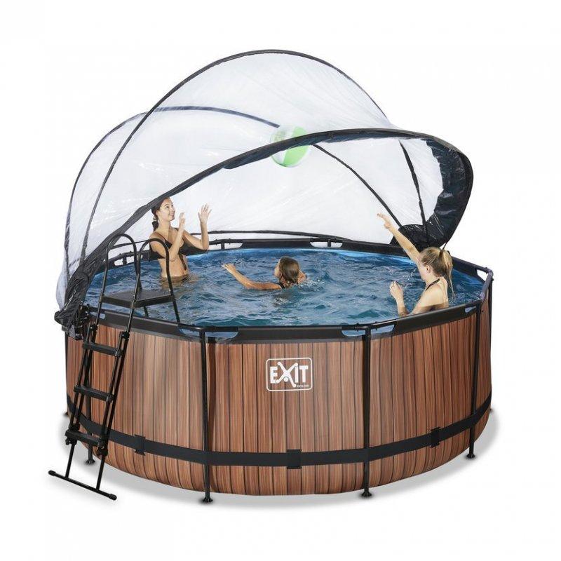 Bazén Exit ø360 x 122 cm s filtrací a krytem - barva hnědá, dřevo