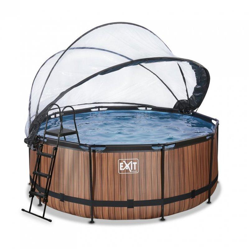 Bazén Exit ø 360 x 122 cm s pískovou filtrací a krytem - barva hnědá, dřevo