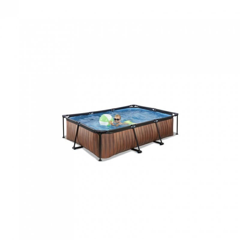 Bazén Exit 300 x 200 x 65 cm s filtrací - barva hnědá, dřevo